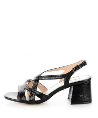 Czarne sandały z paseczkami na szerokim słupku ORZALE