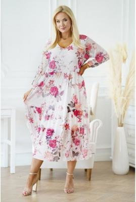Kremowa sukienka z siateczki z różami - Sintia