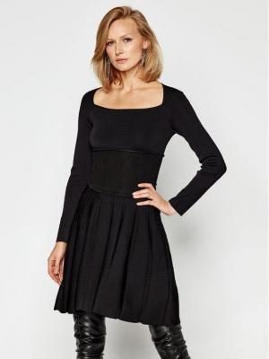Pinko Sukienka dzianinowa Croazia Al 20-21 BLK 01 1G15EG Y69G Czarny Slim Fit