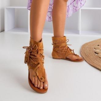 Brązowe ażurowe sandały japonki z cholewką Joanina - Obuwie