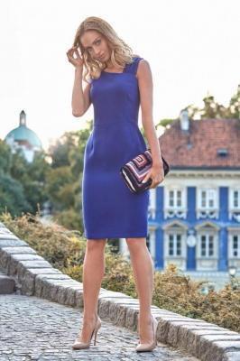 Chabrowa Wieczorowa Ołówkowa Sukienka z Ciekawym Dekoltem