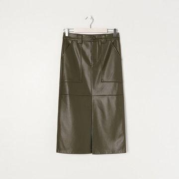 Sinsay - Spódnica midi z imitacji skóry - Khaki
