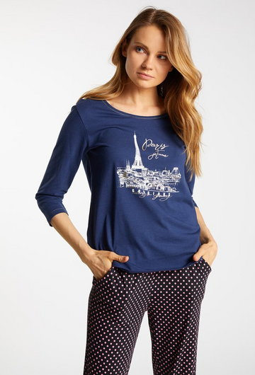 Góra od piżamy z ozdobnym wzorem
