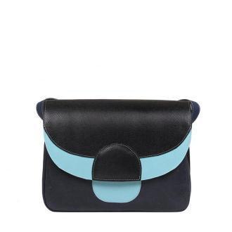 torebka damska skórzana Rainbow na ramię czarno-granatowo-niebieska