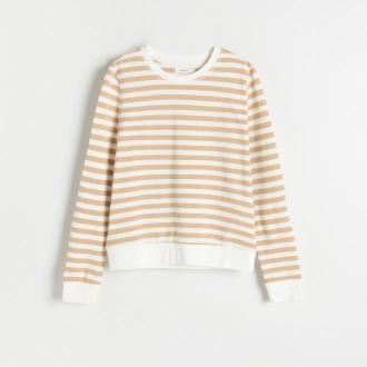 Reserved - Bawełniana bluza w paski - Beżowy