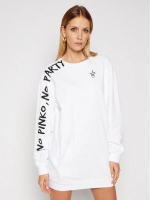 Pinko Sukienka dzianinowa Dizione PE 21 PRR 1N1346 Y7ED Biały Regular Fit