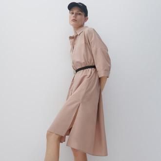 Reserved - Koszulowa sukienka - Beżowy