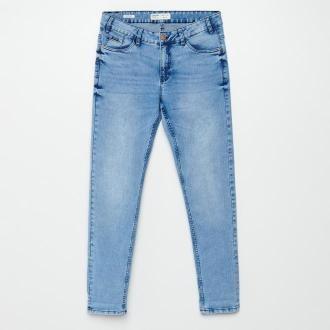 Cropp - Jeansy skinny z efektem sprania - Niebieski
