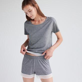 Reserved - Piżama z szortami z bawełny organicznej - Czarny