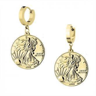 Kolczyki pozłacane z monetami dolarami ze stali szlachetnej