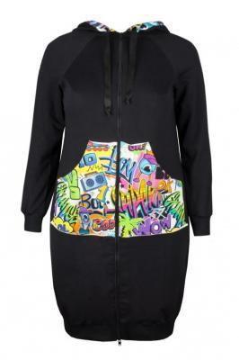 JOVITA BLACK długa rozpinana bluza plus size : size - 42