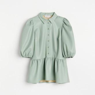 Reserved - Elegancka bluzka z imitacji skóry - Zielony