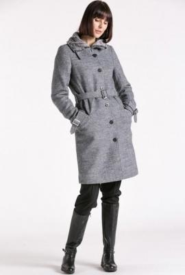 Melanżowy wełniany płaszcz