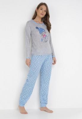 Szaro-Jasnoniebieski 2-Częściowy Komplet Piżamowy Meria