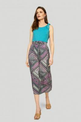 Długa wiskozowa spódnica z nadrukiem