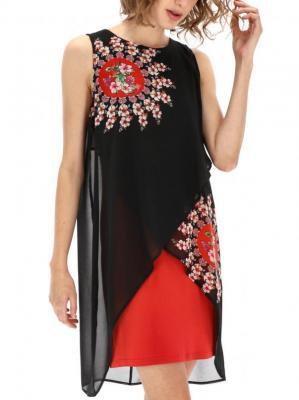 Zwiewna sukienka z szyfonową narzutką Desigual NADIA REP