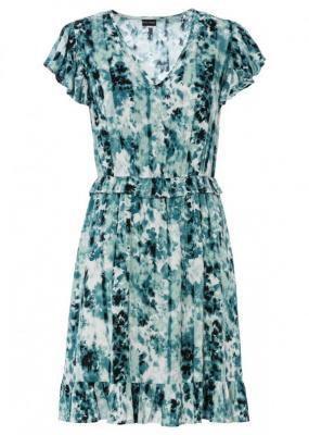 Sukienka z falbaną bonprix niebieskozielony z nadrukiem