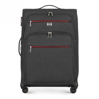 Średnia walizka z kolorowym suwakiem
