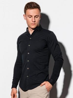 Koszula męska z długim rękawem K540 - czarna - XXL