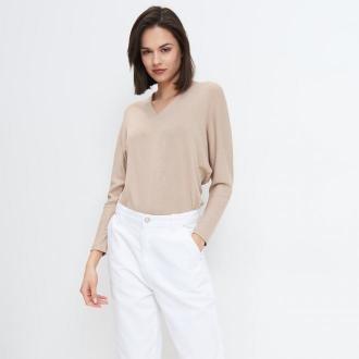 Mohito - Dzianinowa bluzka oversize - Beżowy