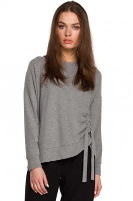 Sweterek z Fantazyjnym Marszczeniem - Szary