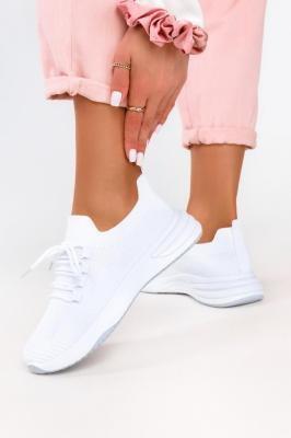 Białe sneakersy na platformie buty sportowe sznurowane Casu 7040-2