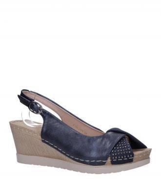 Granatowe sandały na koturnie