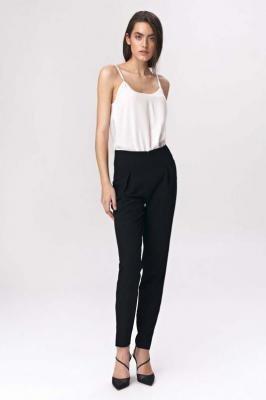 Czarne Cygaretkowe Spodnie z Wysokim Stanem