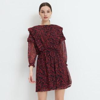 Mohito - Dzianinowa sukienka z falbanami - Czarny