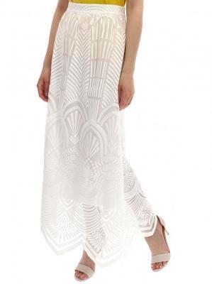 Biała spódnica ze wzorem strukturalnym Desigual LYON FRANCE