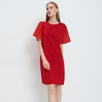 Mohito - Sukienka z szyfonowym rękawem - Czerwony