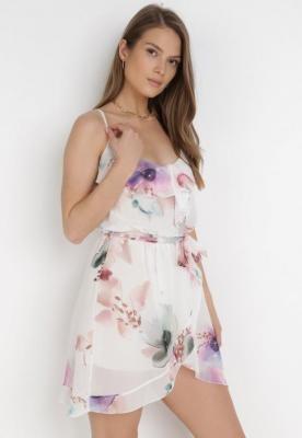Biało-Fioletowa Sukienka Leomaris