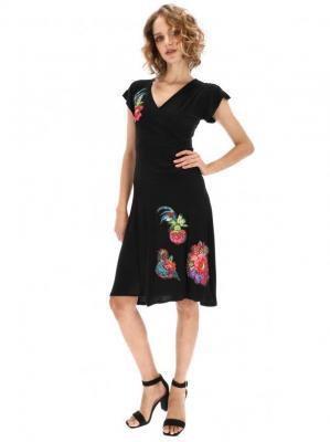 Czarna sukienka midi z aplikacjami Desigual ASHA