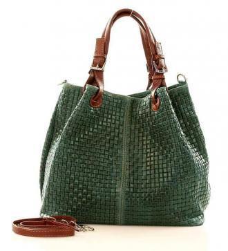 Skórzana torebka shopper MAZZINI - LINDA ciemna zieleń