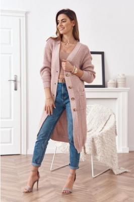 Długi sweter rozpinany ciemnoróżowy 321970