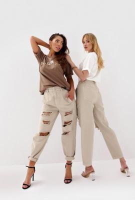 Beżowe spodnie damskie z wysokim stanem