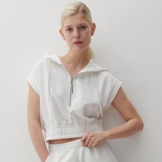 Reserved - Krótka bluza z kapturem - Kremowy