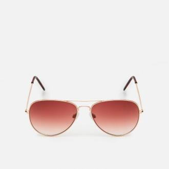 Cropp - Okulary przeciwsłoneczne z kolorowymi szkłami - Brązowy