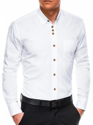Koszula męska elegancka z długim rękawem K302 - biała - S