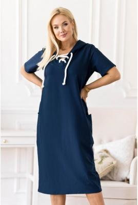 Granatowa sukienka plus size z wiązaniem na dekolcie - Siena