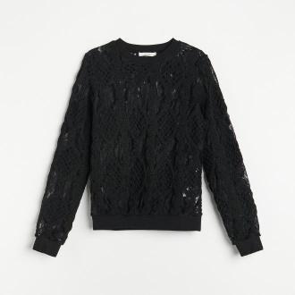 Reserved - Koronkowa bluzka ze zdobieniem - Czarny