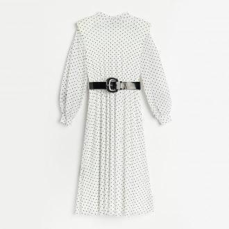 Reserved - Sukienka midi z paskiem - Wielobarwny