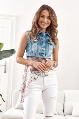 Kamizelka jeansowa z szyfonowym, kwiecistym dołem 1019