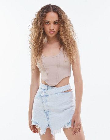 Bershka Jeansowe Spódnicospodenki Z Postrzępionym Brzegiem Kobieta 34 Jasnoniebieski