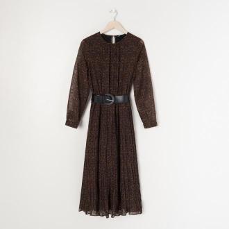 Sinsay - Plisowana sukienka z paskiem - Wielobarwny