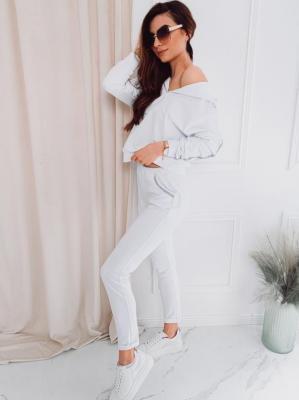 Komplet damski bluza + spodnie 001ZLR - biały - XS/S
