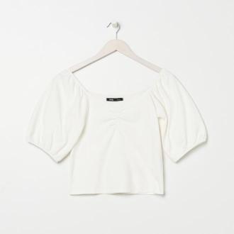 Sinsay - Koszulka slim fit z bufkami - Kremowy