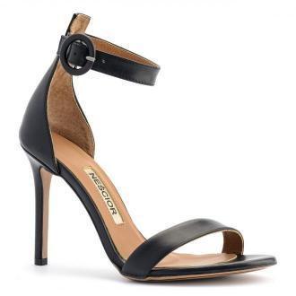 Czarne skórzane szpilki sandały zapinane wokół kostki 103P