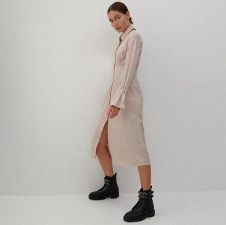 Reserved - Sukienka koszulowa - Beżowy