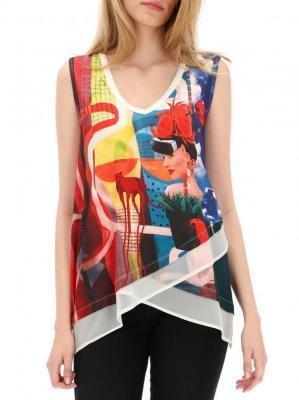 Asymetryczna bluzka z nadrukiem kobiety Desigual CELESTE